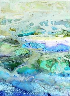 "Mixed Media Artists International: ""Tide Pool High Tide"" Original Alcohol Ink Abstract Painting by New Orleans Artist Lou Jordan"
