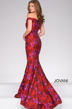 Floral Print Off the Shoulder Mermaid Dress 40718
