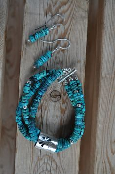 Heshei Turquoise and Sterling Silver- Bracelet and earring set. Handmade Dragonfly slider on bracelet. Custom order April-May 2012