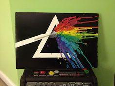Tutorial: Pink Floyd Melted Crayon Art #crayon #art #diy #blog #craft #pink #floyd #melted #crayon #glue #gun #crayon #Hair #dryer #crayon
