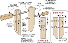 Handy Clamp for Small Parts: Make Your Own Low-Cost Small Clamps Diy Woodworking Vise, Diy Workbench, Beginner Woodworking Projects, Popular Woodworking, Woodworking Techniques, Metal Fabrication Tools, Bookcase Plans, Small Cafe Design, Diy Garage Storage