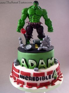- Incredible  Hulk birthday cake www.TheSweetTastes.com