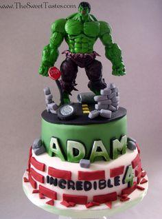 - Incredible  Hulk birthday cake www.TheSweetTastes.com