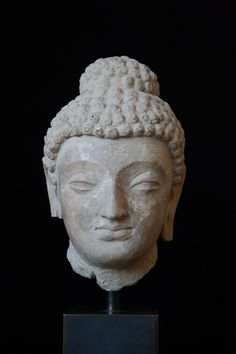 Head of Buddha India, Gandhara 5th century Stucco 20,5 cm