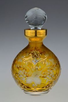 Bohemian Czech Colored Painted Golden Crystal Cut to Clear Perfume Bottle