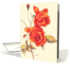 happy birthday, red roses, watercolor painting card