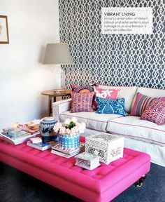 pink piped couch and ottoman