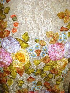 Closeup of ribbonwork flowers