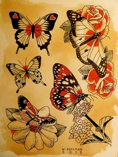 #butterfly #daisy #roses #hearts #watercolor #indiaink #ink #tattoo #flash #art by Will Koffman