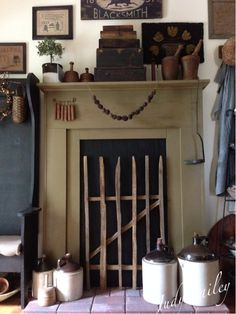 Love the small width of this fireplace....and the Primitive 'grate' in front.