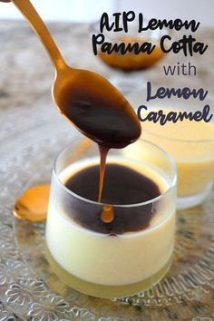 Lemon Panna Cotta with Lemon Caramel Sauce is dairy and egg-free made with coconut milk and sweet potato! Lemon Panna Cotta with Lemon Caramel Sauce is dairy and egg-free made with coconut milk and sweet potato! Brownie Desserts, Oreo Dessert, Mini Desserts, Plated Desserts, Healthy Recipes, Dairy Free Recipes, Gourmet Recipes, Real Food Recipes, Gourmet Foods