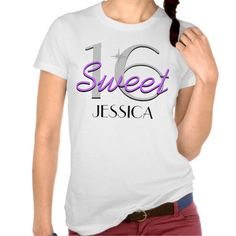 Personalized Sweet 16 Purple Sparkle Tee Shirts #Personalized #tshirt