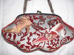 Mary Frances Shoe Motif Handbag W Cut Velvet Retired Maryfrances Shoulderbag