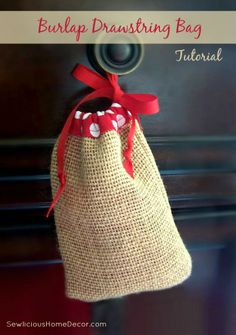 Easy Burlap Drawstring Bag Tutorial | http://sewlicioushomedecor.com