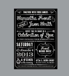 Vintage Antique Edwardian Victorian Rustic Chalk Board Wedding Invitations