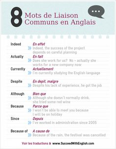8 Mots de Liaison Communs en Anglais - www.SucceedWithEnglish.com