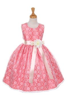 online shopping for Aki_Dress Floral Lace Overlay Elegant Flower Girl Dress from top store. See new offer for Aki_Dress Floral Lace Overlay Elegant Flower Girl Dress Coral Flower Girl Dresses, Lace Flower Girls, Lace Flowers, Little Girl Dresses, Floral Lace, Lace Tea Length Dress, Tea Length Dresses, Girls Dresses Online, Girls Formal Dresses