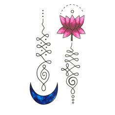 7eb540cd87650 Set of 2 Waterproof Temporary Fake Tattoo Stickers Watercolor Blue Moon  Pink Lotus Flowers >>> Check this awesome product by going to the link at  the image.