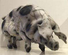 Martha - Standing Gloucester Old Spot Pig Original by Christine Cummings