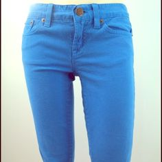 J. Crew toothpick dyed jeans Garment dyed bold blue J Crew toothpick jeans with some stretch. Size 28, equivalent to 4/6. Very good used condition, minimal normal wear, no damage. Great for spring. J. Crew Jeans Skinny