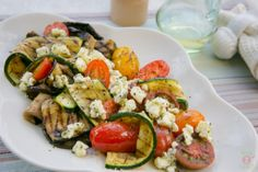 Grilled Vegetables, Peppered Feta and Oregano: Tasty gilled vegetables perfect on its own or with a BBQ Uk Recipes, Veggie Recipes, Healthy Recipes, Bread Recipes, Healthy Foods, Grilled Vegetables, Veggies, Healthy Nutrition, Healthy Eating