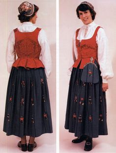 FolkCostume&Embroidery: Search results for norwegian costumes. Here is the 'traditional' bunad from Hedmarken. In the first image we see, from left to right, the 1935 model, model, and the 1985 model. Beautiful Costumes, One Image, Folk Costume, Traditional Dresses, Norway, Embroidery, Sweden, Scandinavian, Model