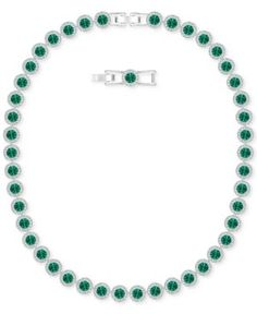 Swarovski Silver-Tone Green Crystal All-Around Collar Necklace - Green