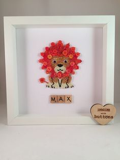 Lion Button Art Picture Frame perfect for Birthdays or as a