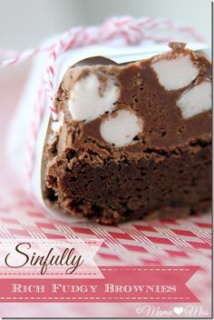 Sinfully Rich Fudgy Brownies {mama♥miss} ©2012...use gf brownies, and add chocolate marshmellow frosting recipe on top