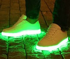 Light up the streets with your great fashion sense by wearing a pair of LED sneakers. These eye-catching kicks sport a wrap-around LED band that can be customized with one of seven colors so you can match them with any outfit.