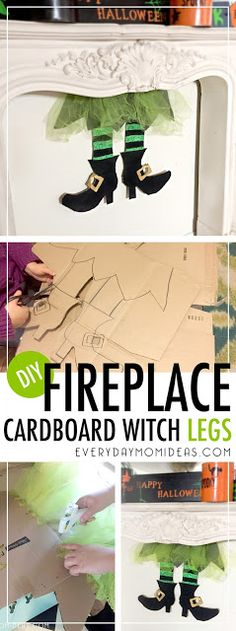 Quick Halloween Craft that is oh so cute! DIY Fireplace Cardboard Witch Legs! -Tutorial and Tips for making your own.