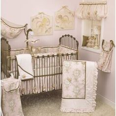 Decorate a sweet, sophisticated nursery with the Cotton Tale Designs Lollipops and Roses 7 Piece Crib Bedding Set . This light pink bedding set is. Pink Crib Bedding, Girl Nursery Bedding, Nursery Bedding Sets, Bedding Shop, Nursery Room, Princess Crib Bedding, Nursery Decor, Ruffle Comforter, Toile Bedding