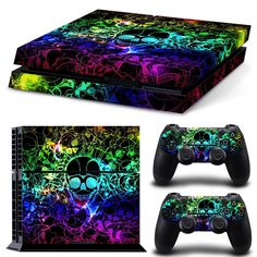 Cool Colourful Skull Vinyl Skin Sticker PS4 Decal for Sony PlayStation 4 Console+2 Pcs Cover Skin of Controllers♦️ SMS - F A S H I O N  http://www.sms.hr/products/cool-colourful-skull-vinyl-skin-sticker-ps4-decal-for-sony-playstation-4-console2-pcs-cover-skin-of-controllers/ US $9.90
