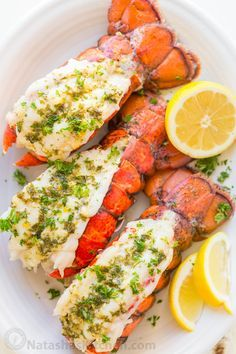 The ONLY Lobster Tails Recipe you'll need! Broiled lobster tails are juicy, flavorful, and quick to make! + How-To butterfly lobster tails photo tutorial!   natashaskitchen.com