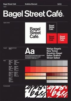 "плакат гайд Guidelines / Nikolaj Kledzik – Art Direction & Graphic Design – Bagel Street Café – Visual Identity // I like this page layout of how the ""Bagel Street Café"" has displayed its ideas for typography. Brand Guidelines Design, Logo Guidelines, Brand Identity Design, Graphic Design Branding, Corporate Design, Typography Design, Logo Design, Corporate Identity, Brochure Design"