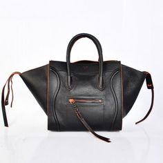 8ee6bd4aa08a Celine Black with Orange accent Leather Bag. Handbags On Sale
