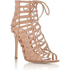 Gianvito Rossi Caged Lace-Up Sandals in Beige as seen on Eva Longoria