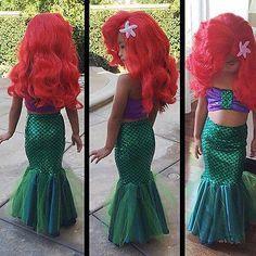 La pequeña cola de sirena princesa ariel vestido cosplay vestido de traje de los niños para la muchacha de lujo verde
