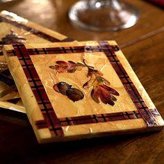 Fall Coasters - use torn tissue paper, ceramic tile, and decopage medium