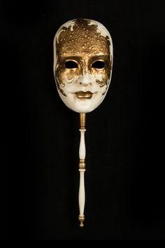 Volto con Bastone Bianco E Oro Maschera Veneziana Originale Artigianale Fatta A | eBay