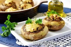 Фаршированные шампиньоны с сыром в духовке - рецепт с фото
