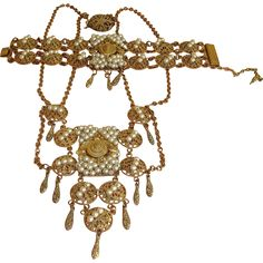 Vintage Miriam Haskell Jewelry - Miriam Haskell Necklace and Bracelet Set