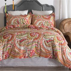 Queen Size Comforter Sets, King Size Comforters, King Comforter, Teal Bedding, Ruffle Bedding, Bedding Sets, Paisley Bedding, Green Home Decor, Bath