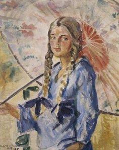Bernhard Folkestad Doroteo (1879-1933) Mildred con el paraguas.