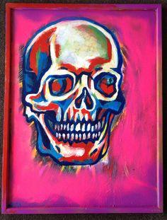 Skull painting acrylic on wood by Sofia Fitzpatrick www.sofiafitzpatrick.com.au
