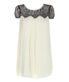 Sheer Lace Pleated Shift Dress