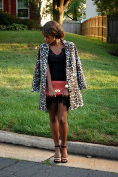 leopard coat, an LBD and a hint of red