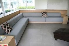 Built in Bench Seating upholstered in Wool Living Room Partition Design, Pooja Room Door Design, Home Design Living Room, Home Decor Furniture, Furniture Design, Indian Bedroom Design, Built In Sofa, Built Ins, Upholstered Bench Seat