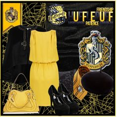 Hufflepuff., created by keniacoronado on Polyvore Harry Potter Dress Up, Harry Potter Outfits, Hufflepuff Pride, Leo Love, Inspired Outfits, Fantastic Beasts, Dress Outfits, Dresses, Dress Ideas
