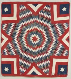 Pieced and Appliqued Cotton Star of Bethlehem Pattern Quilt, America, late 19th/early 20th century, large central eight-point star constructed of diamond-shaped segments, in solid and printed calico fabrics in predominantly red, white, and blue, with red, white, and blue fabric between the points, the corners each with an appliqued white star, backed with white cotton, edged with apricot and red, with shell design quilting stitches, 68 x 68 in.